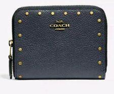 Coach Women's Zip Around Gold Studded Wallet Purse Leather Midnight Blue