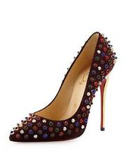 Christian Louboutin FOLLIES CABO Studded Beaded Spiked Heel Pump Shoes 39.5