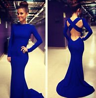 Sexy Women Long Sleeve Prom Ball Cocktail Party Dress Formal Evening Gown Dress