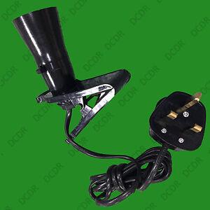 Black B22 Socket, Clamp Clip Grip On Light, Fix Or Attach Anywhere UK Plug