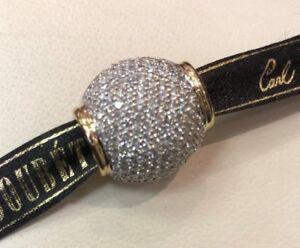 18KT TT JOHN HARDY PAVE DOMED DIAMOND SLIDE PENDANT