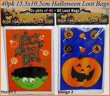 80 Halloween LOOT BAGS Candy Sweets Trick or Treat 40 Orange + 40 Blue 15x10cm