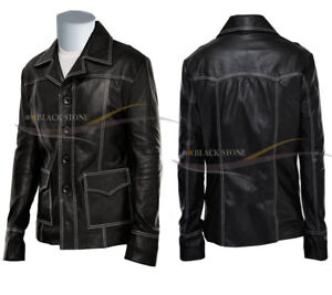 Black Fight club style lamb skin leather jacket soft leather very light and soft