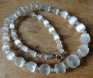 vintage art deco clear semi transparent graduated geometric bead necklace -A293