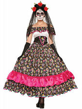 Womens Spanish Lady Mexicos Day of The Dead Skeleton Festival Costume Fm74798
