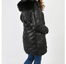 Women Ladies New Long WET LOOK Warm Padded FAUX FUR Hood Puffer Coat/Jacket10-18