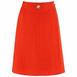 COURREGES c.1960's Orange White Signature Logo Snap Button Up A-Line Wrap Skirt
