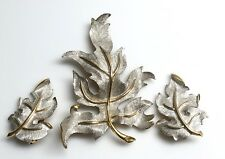 Signed Judy Lee Textured Leaf Silver Gold Brooch Clip Earrings Set Demi Parure