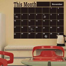 NEW This Month Blackboard Calendar Planer Vinyl Wall Sticker Chalkboard Decal CN
