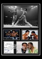 (#122) muhammad ali & joe frazier boxing signed a4 photo/mounted/framed (pp)