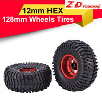 "2pcs ZD Racing 128mm 2.2""Rubber Tire with Alloy Rim for TRX4 SCX10II 1/10 RC Car"