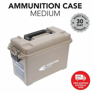 Medium Ammunition Case Weatherproof Ammo Dry Box Hunting Sealed - Desert Tan
