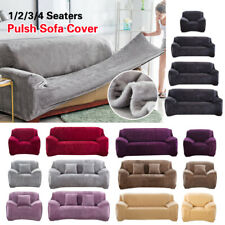 Plush Sofa Cover Stretch Solid Color Thick Slipcover Sofa Covers for Living Room