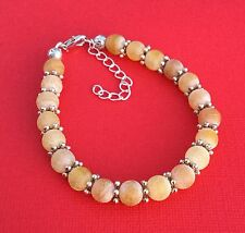 Yellow Frosted Agate Gemstone Handmade Unique Women's Bracelet - Aussie Seller!!