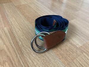 Polo Ralph Lauren Grosgrain Reversible O Ring Belt Navy/green/white Small