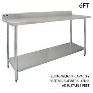 Catering Stainless Steel Table Commercial Overshelf Kitchen Prep Bench Shelves