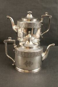 Pair Antique Reed & Barton Aesthetic Design Silver Plate Teapots, NR