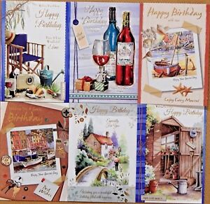 Pack of 6 Traditional Mens Male Birthday Cards Gardening Country Scene Cards /B3