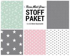 Stoffpaket rosa mint grau 5x (0,5x1,50m) Patchworkpaket Baumwolle Nähpaket