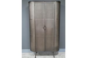 Tall Industrial Metal Ribbed Design Oval 2 Door Storage Cabinet