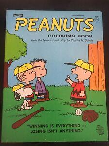 Coloring Book -PEANUTS CARTOON BASEBALL GAME- Unused 1970 Charlie Brown/Snoopy