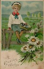 An Easter Greeting Child Eggs Fence Flowers Glitter Arts Crafts Postcard A41