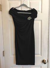 ROBERTO CAVALLI Black Silky Jersey Off Shoulder Dress Enamel Brooch Small $2000