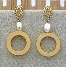 "18K Gold Flated 2.4"" Earrings Natural Pearl Waterdrop Hollow 925 Silver Pins DS"