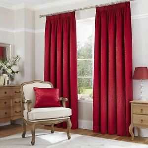 Catherine Lansfield Thermal Leaf Jacquard Pencil Pleat Lined Curtains Pair Red