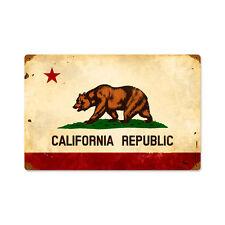 Vintage Style Retro California Flag Steel Sign 18 x12