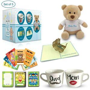 Geschenk zur Geburt/Baby | Tassen + Meilenstein Karten + Grußkarte + Teddy Bär