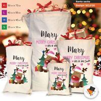 Personalised Childrens Santa Sack Christmas Bag Cartoon Cute Reindeer Red