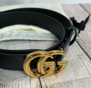 Authentic Gucci Marmont Gold GG Shiny Hardware Black Leather Belt Size 80/32