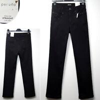 PER UNA Luxe Feel STRAIGHT Leg ROMA FIT Embellished JEANS ~ 20 Regular ~ BLACK
