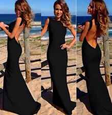 Stunning Long Black Dress Formal Stretch Low Back Elegant Deb Graduation Valedic