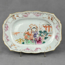 """Chinese export porcelain meat plate """"Famille Rose"""" enamels depicting a falconer"""