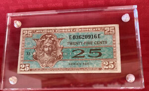 Military payment certificate 25 cents series 521 SUPER KOOL NOTE AU encapsulated