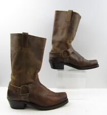 Ladies Frye Brown Leather Square Toe Belted Harness Biker Boots sz: 10 M