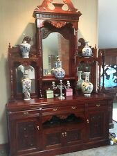 Antique Style Victorian Solid Mahogany Sideboard / Buffet Hutch