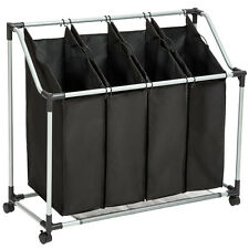 Wäschesortierer mit 4 Fächern Wäschekorb Wäschesammler Wäschebox schwarz