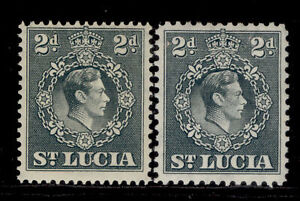 ST. LUCIA GVI SG131 + 131a, 2d grey, M MINT.