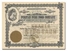 Puritan Pure Food Company Stock Certificate (Chocolates)
