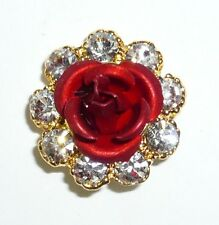 Pin Comes in Christmas Gift Box Cute 3D Red Rose Metal W.Clear Rhinestone