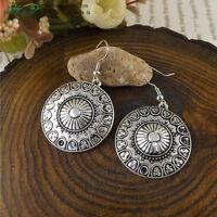 Tibetan Silver Delicately Carved Lotus Shape Medallion Dangle Amulet Earrings