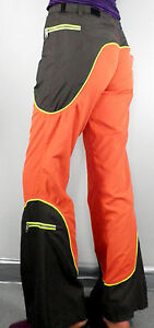 Vintage Rave Orange & Khaki Brown Flared Trousers  Size S W 30 Festival Psy