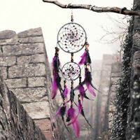 "24"" Dream Catcher With Feather Wall Hanging Home Decor Ornament Gift Purple"
