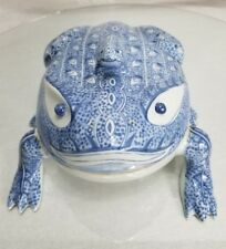 Vintage Rare Maitland Smith  Frog Ceramic Figurine Blue White Thailand Hand Made