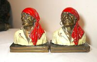 pair of antique Paul Herzel pirate polychromed bronze clad figural bookends bust