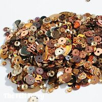 Mixed Flat, Cup and Shaped Sequins 100+ Loose Sparkling Bronze Mix