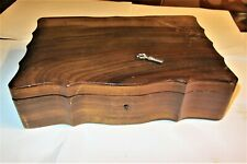 ANTIQUE WOODEN JEWELLERY BOX REMOVABLE COMPARTMENT GREEN FELT LINING + KEY